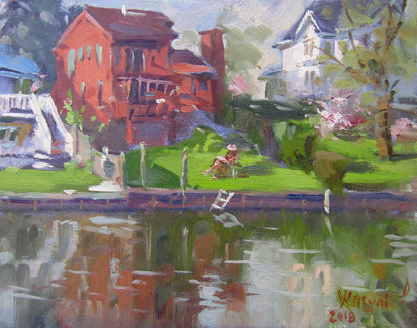 Wall Art - Painting - A Quiet Afternoon By The Canal by Ylli Haruni