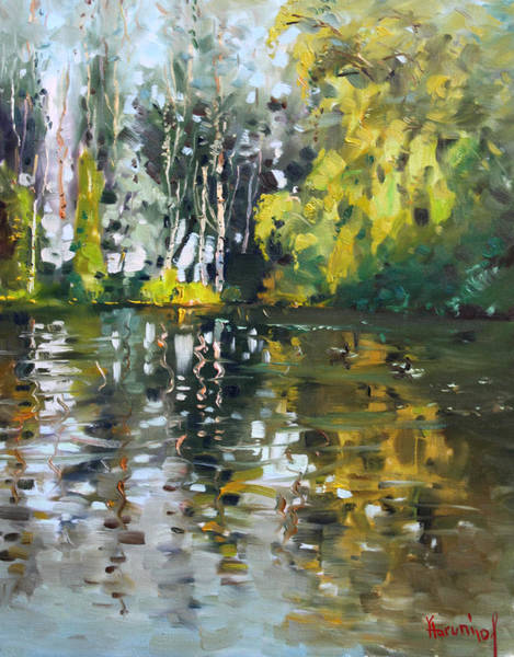 Lake Shore Wall Art - Painting - A Quiet Afternoon Reflection by Ylli Haruni