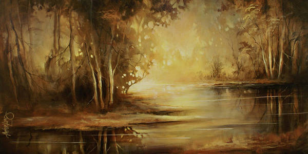 Creek Painting - A Quiet Moment by Michael Lang