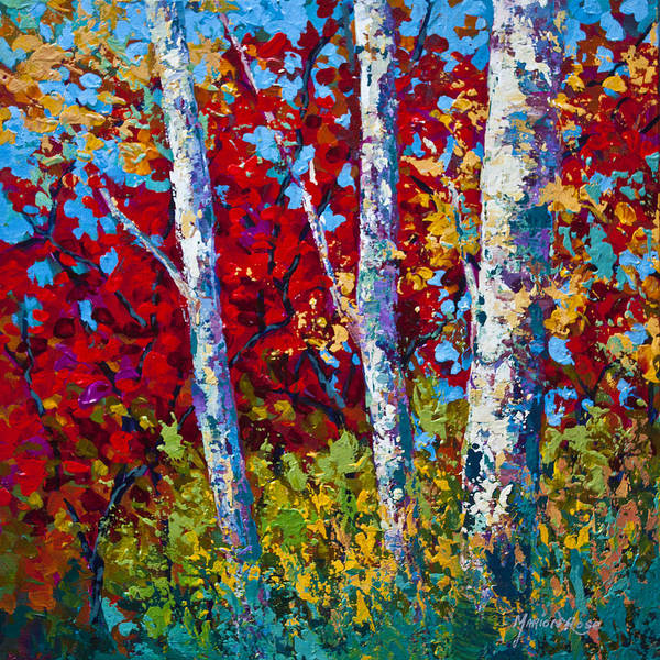 Birches Painting - A Quiet Pause by Marion Rose