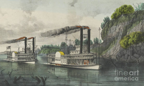 Wall Art - Painting - A Race On The Mississippi, 1870 by Currier and Ives