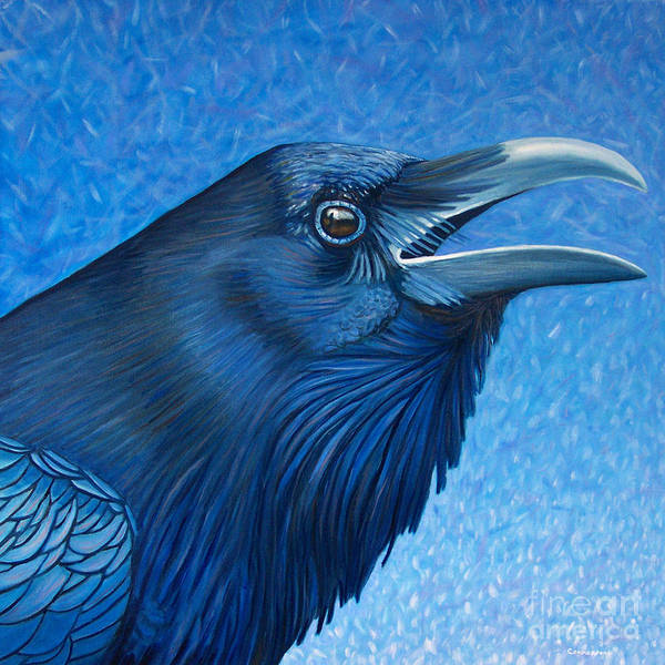 Wall Art - Painting - A Raven's Prayer by Brian  Commerford