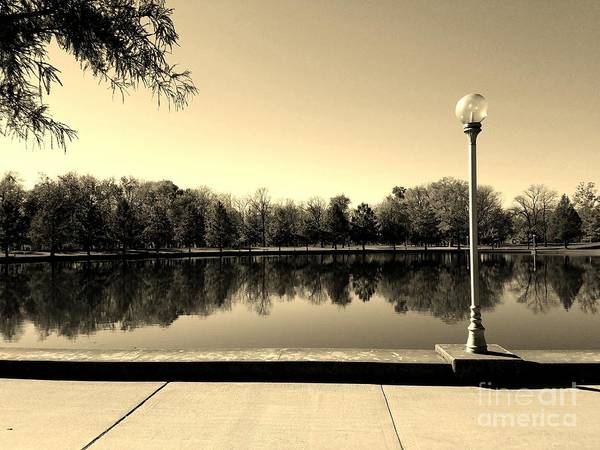 Millrace Wall Art - Photograph - A Reflection Of Fall - Sepia by Scott D Van Osdol