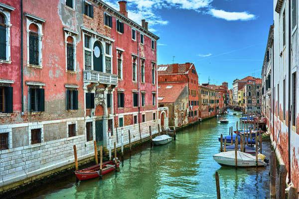 Photograph - Picturesque Facades And Boats In Venice, Italy by Fine Art Photography Prints By Eduardo Accorinti