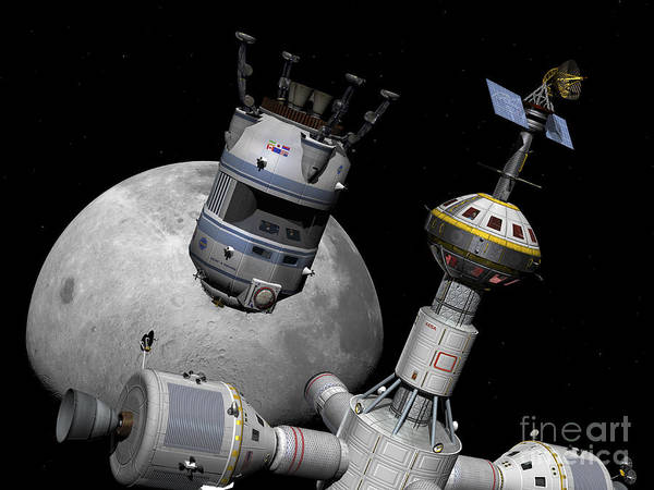 Cupola Digital Art - A Reusable Lunar Shuttle Prepares by Walter Myers