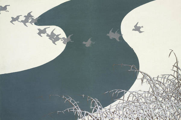 Migration Painting - A River In Winter by Kamisaka Sekka