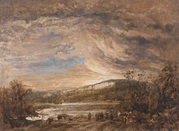 Painting - A River Landscape, Sunset by John Linnell
