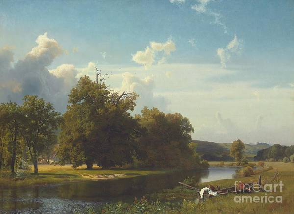 Atmospheric Painting - A River Landscape Westphalia by Albert Bierstadt