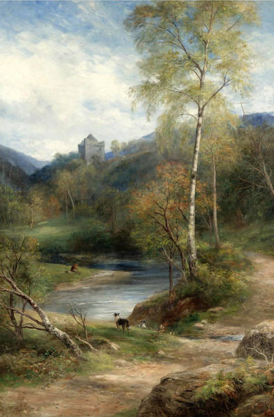 Wall Art - Painting - A River Landscape With Castle Beyond by John MacWhirter