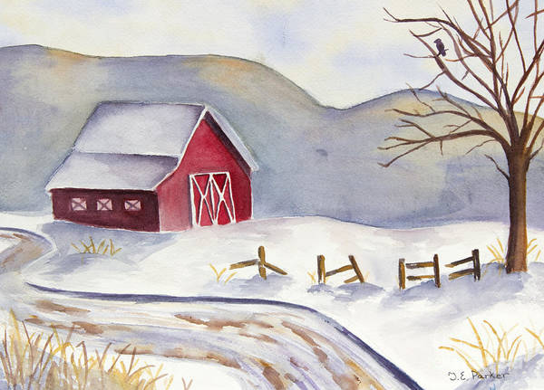 Barn Snow Painting - A Road Leading Home by Jordan Parker