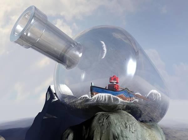 Science-fiction Digital Art - A Robot In A Bottle by Michael Knight