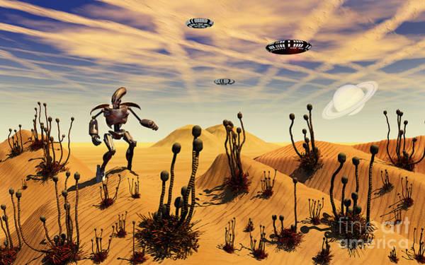 Strange Land Wall Art - Digital Art - A Robot Tending To A Desert Garden by Mark Stevenson