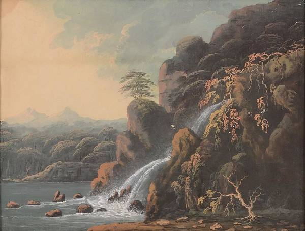 Outcrop Painting - A Rocky Outcrop Waterwall by Thomas Walmsley