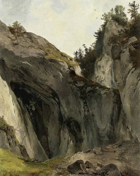 Outcrop Painting - A Rocky Outcrop With Vegetation by Friedrich Gauermann
