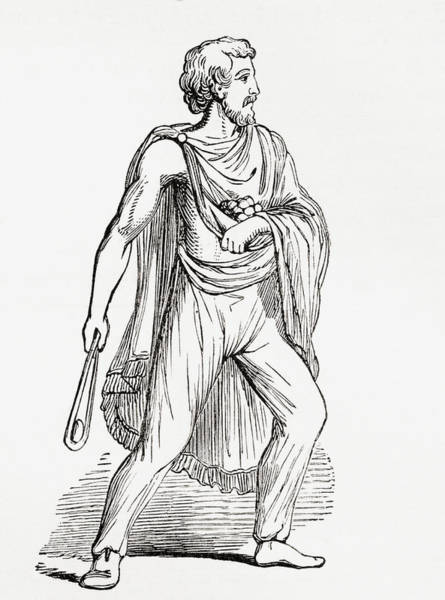 Roman Soldier Drawing - A Roman Slinger, After A Figure by Vintage Design Pics