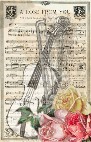 Mixed Media - A Rose From You Vintage Sheet Music by Joy of Life Art Gallery