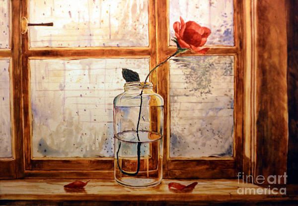 Painting - A Rose In A Glass Jar On A Rainy Day by Christopher Shellhammer