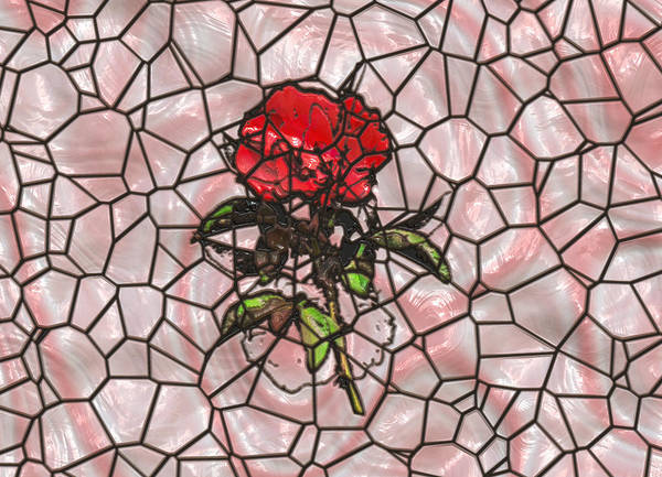 A Rose On Stained Glass Art Print