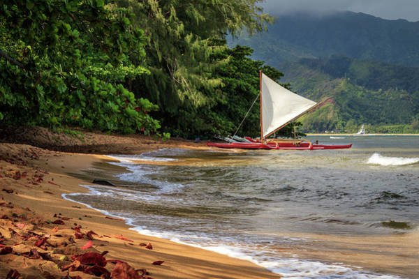 Photograph - A Sailboat In Hanalei Bay by James Eddy