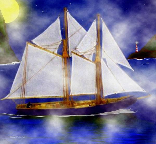 Schooner Digital Art - A Sailor's Dream by Madeline  Allen - SmudgeArt
