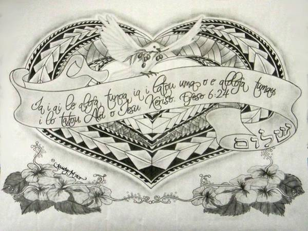 Olive Branch Drawing - A Samoan Blessing by Kristy Mao