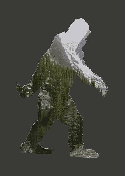 Rockies Digital Art - A Sasquatch Bigfoot Silhouette In The Rockies by Garaga Designs
