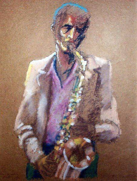Painting - A Saxophone Someplace Far Off Played by Tim Johnson