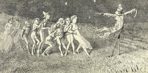 Frightening Drawing - A Scarecrow by Charles Altamont Doyle