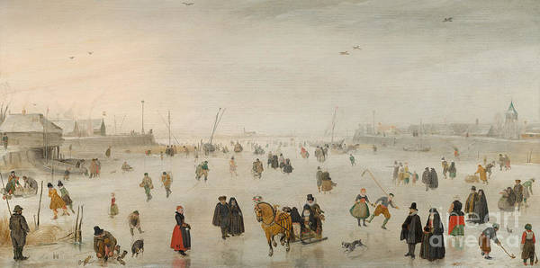 Wall Art - Painting - A Scene On The Ice, by Hendrik Avercamp