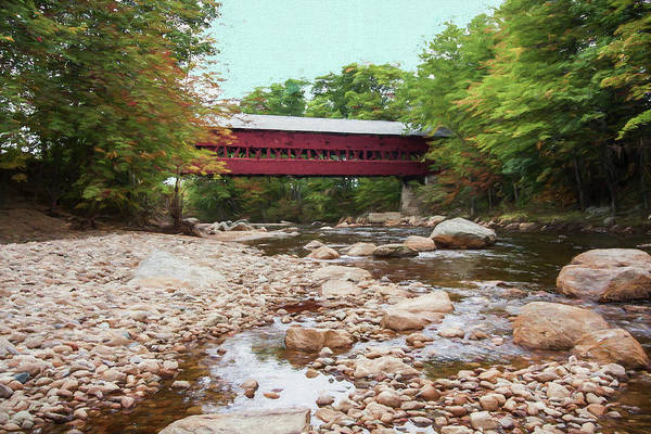 Photograph - A Scenic View Of The Swift River Covered Bridge. North Conway Ne by Rusty R Smith