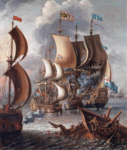 Corsair Painting - A Sea Fight With Barbary Corsairs by Laureys A Castro