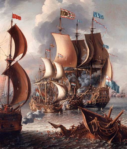 Corsair Painting - A Sea Fight With Barbary Corsairs by Mountain Dreams