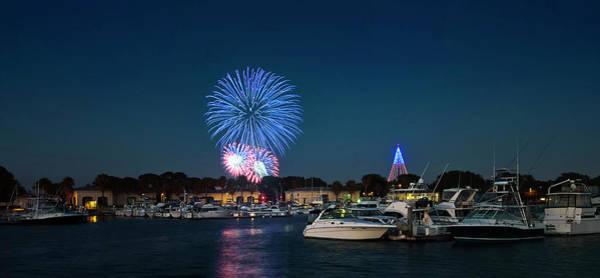 Fireworks Show Wall Art - Photograph - A Seaworld Fireworks Shot, Dana Landing, San Diego by Derrick Neill