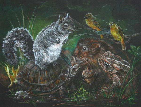 Groundhog Painting - A Secret Meeting Of The Forest Guild by Marguerite Anderson