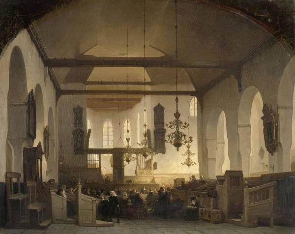 In Service Painting - A Service In The Geertekerk, Utrecht, Johannes Bosboom, 1852 by Celestial Images