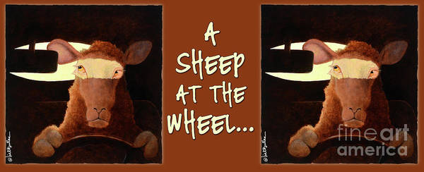 Wall Art - Painting - A Sheep At The Wheel... Coffee Mug by Will Bullas