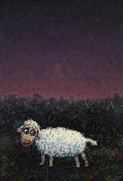 Sheep Painting - A Sheep In The Dark by James W Johnson