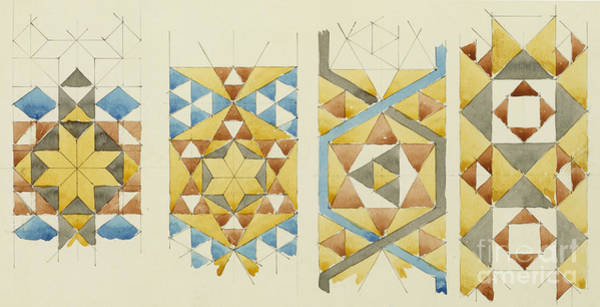 Wall Art - Drawing - A Sheet Of Studies Of Mosaic Bands, Orvieto Cathedral, 1891 by Charles Rennie Mackintosh