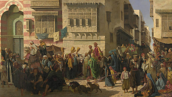 Painting - A Sheikh And His Son Entering Cairo On Their Return From A Pilgrimage To Mecca by Robert Dowling