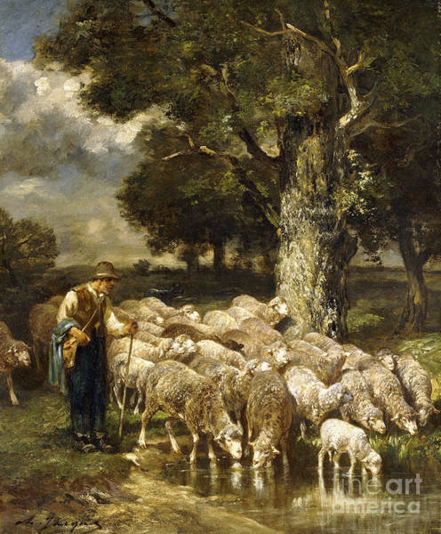 Wall Art - Painting - A Shepherd Tending His Flock by Charles Emile Jacque