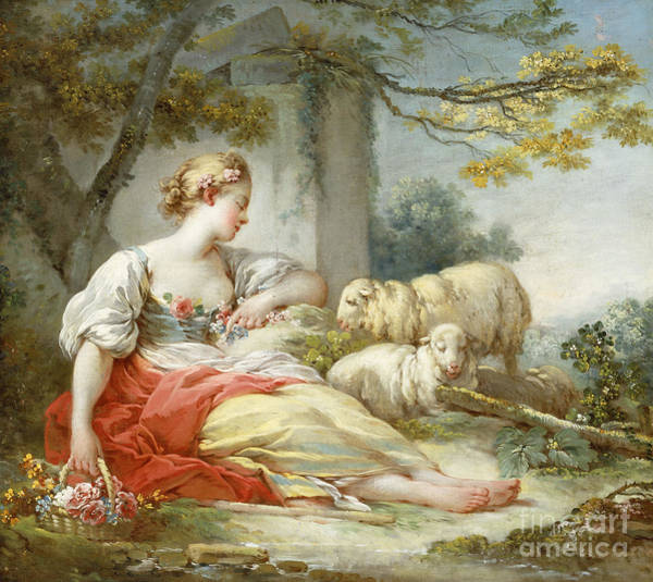Blue Dress Painting - A Shepherdess Seated With Sheep And A Basket Of Flowers Near A Ruin In A Wooded Landscape by Jean-Honore Fragonard