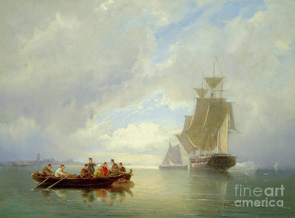 Wall Art - Painting - A Ship Becalmed And A Rowing Boat  by Pieter Christiaan Cornelis Dommelshuizen