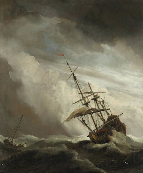 Shipwreck Painting - A Ship On The High Seas Caught By A Squall by Willem van de Velde the Younger