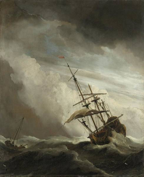 Painting - A Ship On The High Seas Caught By A Squall by Celestial Images
