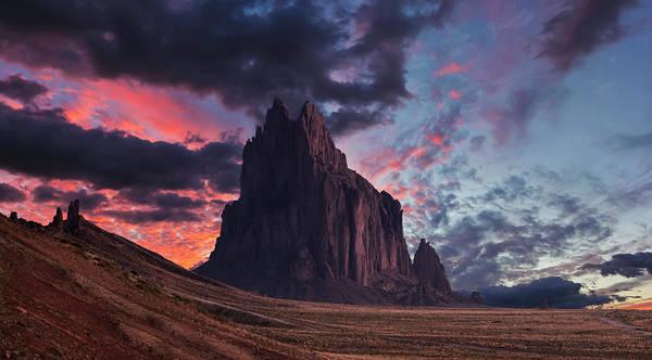 Wall Art - Digital Art - A Shiprock Landscape Against A Breathtaking Twilight Sky by Derrick Neill