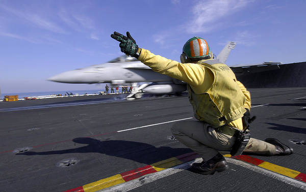 Flight Deck Photograph - A Shooter Signals The Launch Of An by Stocktrek Images