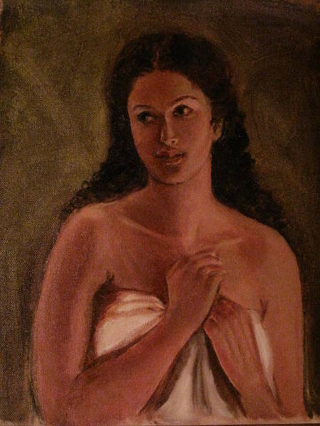 Painting - A Shy Woman by Asha Sudhaker Shenoy