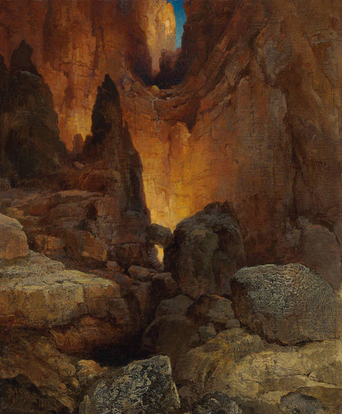 Outcrop Painting - A Side Canyon, Grand Canyon Of Arizona by Thomas Moran
