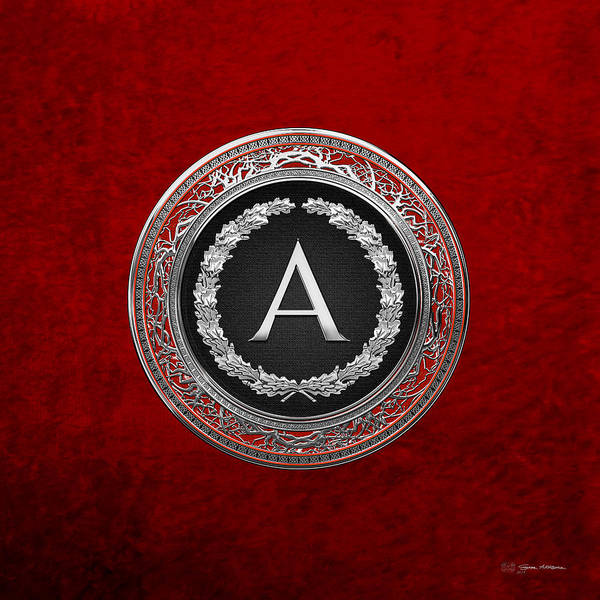 Digital Art - A - Silver On Black Vintage Monogram In Oak Wreath Over Red Velvet by Serge Averbukh