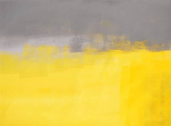 A Simple Abstract - Grey And Yellow Abstract Art Painting Art Print